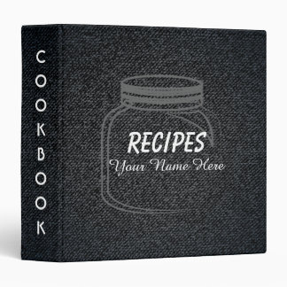 Black Denim Kitchen utensils recipe binder book
