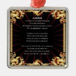 Black Design  Godson poem Square Metal Christmas Ornament