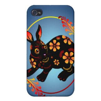 Black Designed Rabbit 441__P iPhone 4 Case