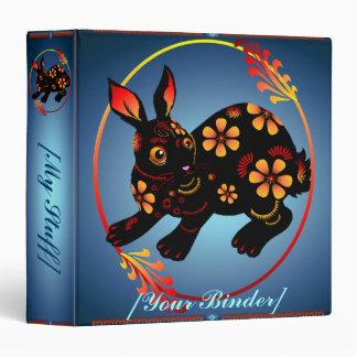 Black Designed Rabbit binder_15_back.v4, 3 Ring Binder