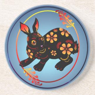 Black Designed Rabbit-Coaster Sandstone Coaster