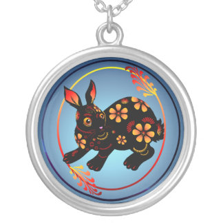 Black Designed Rabbit-Necklace Silver Plated Necklace