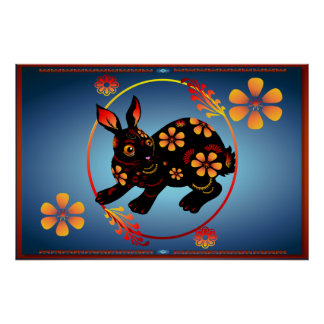 Black Designed Rabbit-Posters Poster