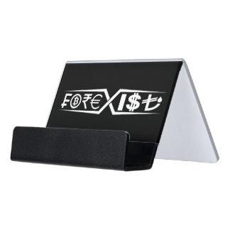 Black desk business card holder
