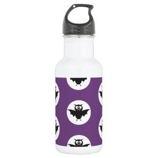 Black devil bats on purple back ground Halloween Water Bottle
