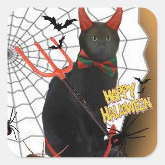 "Black Devil Cat ""Happy"" Halloween Sticker"