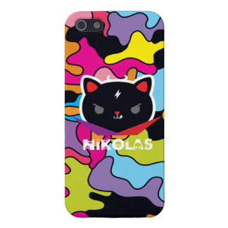 Black Devil Cat Nikolas on iPhone 5 iPhone SE/5/5s Cover