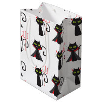 Black devil cats pattern Halloween Medium Gift Bag