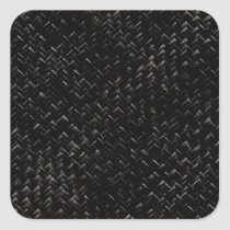 Black Diagonal Basket Weave Geometric Pattern Square Sticker