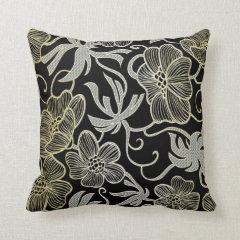 Black Diamond And Gold Floral Damask Design Pillow