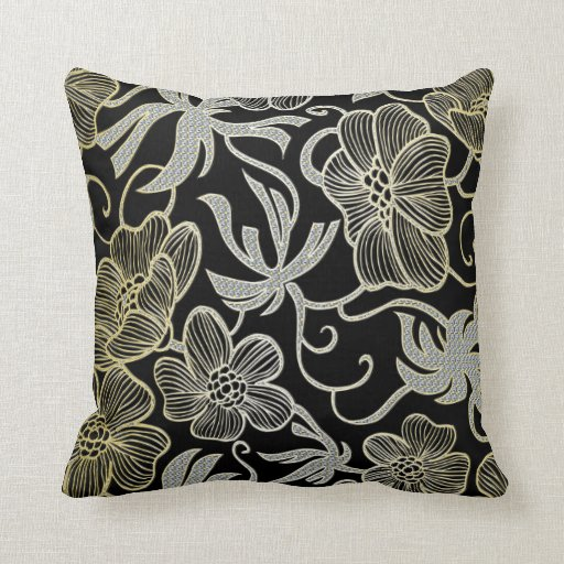 Black Diamond And Gold Floral Damask Design Pillow