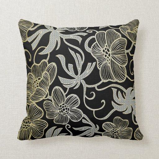 Black Diamond Throw Pillows : Black Diamond And Gold Floral Damask Design Throw Pillow Zazzle