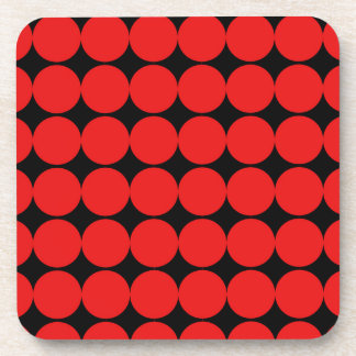 BLACK DIAMOND AND RED CIRCLES DRINK COASTER