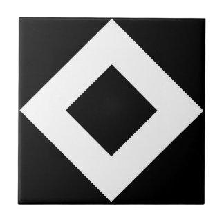 Black Diamond, Bold White Border Ceramic Tile