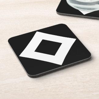 Black Diamond, Bold White Border Drink Coaster
