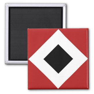 Black Diamond, Bold White Border on Red 2 Inch Square Magnet