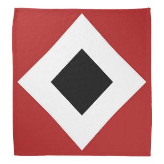 Black Diamond, Bold White Border on Red Bandana