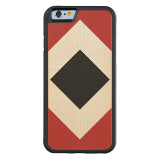Black Diamond, Bold White Border on Red Carved® Maple iPhone 6 Bumper