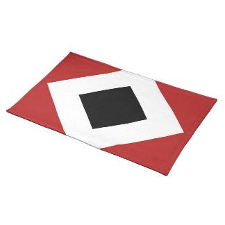 Black Diamond, Bold White Border on Red Cloth Placemat