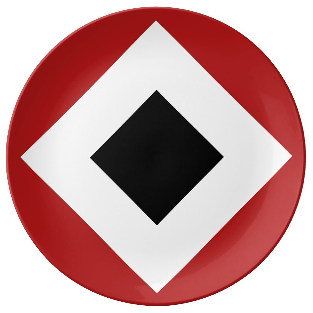 Black Diamond, Bold White Border on Red Dinner Plate