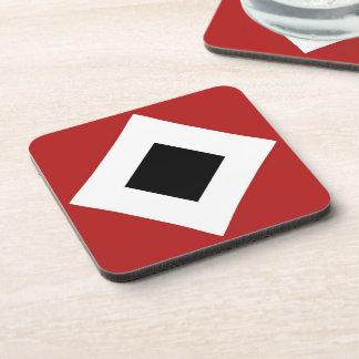 Black Diamond, Bold White Border on Red Drink Coaster