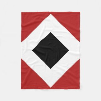 Black Diamond, Bold White Border on Red Fleece Blanket