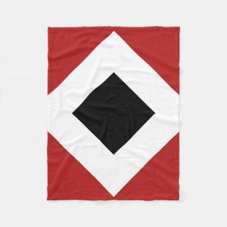 Black Diamond, Bold White Border on Red Fleece Blanket