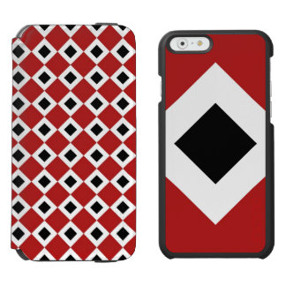Black Diamond, Bold White Border on Red iPhone 6/6s Wallet Case