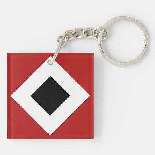 Black Diamond, Bold White Border on Red Keychain