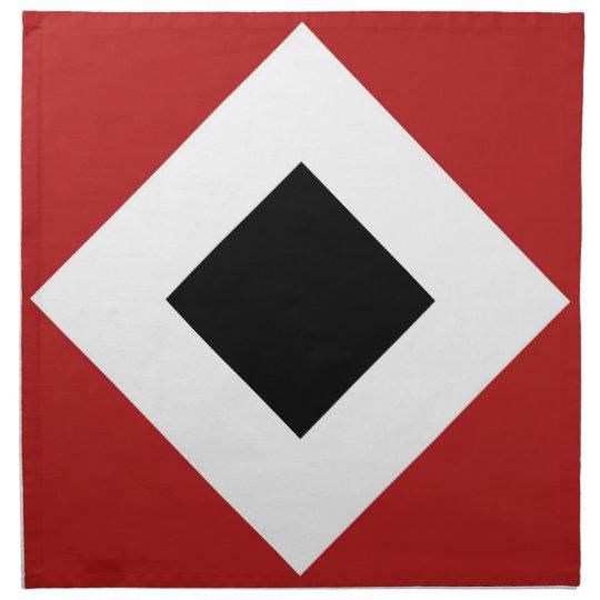 Black Diamond, Bold White Border on Red Napkin