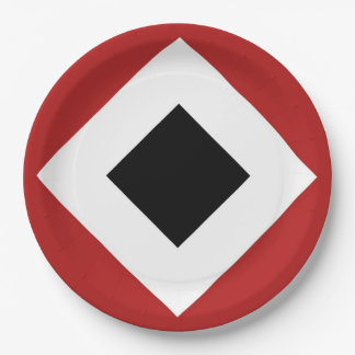 Black Diamond, Bold White Border on Red Paper Plate