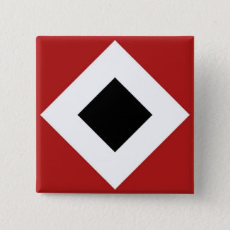 Black Diamond, Bold White Border on Red Pinback Button