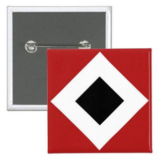 Black Diamond, Bold White Border on Red Pinback Button