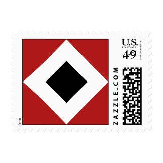 Black Diamond, Bold White Border on Red Postage Stamp