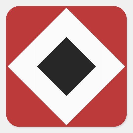 Black Diamond, Bold White Border on Red Square Sticker