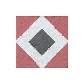 Black Diamond, Bold White Border on Red Stone Magnet