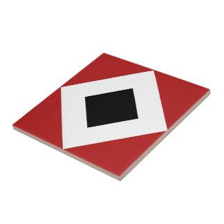 Black Diamond, Bold White Border on Red Tile