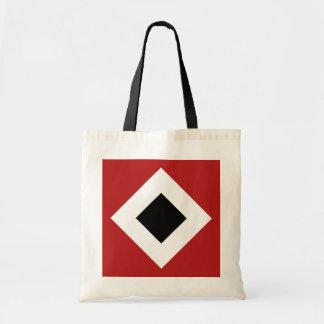 Black Diamond, Bold White Border on Red Tote Bag