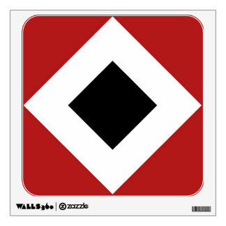 Black Diamond, Bold White Border on Red Wall Decal