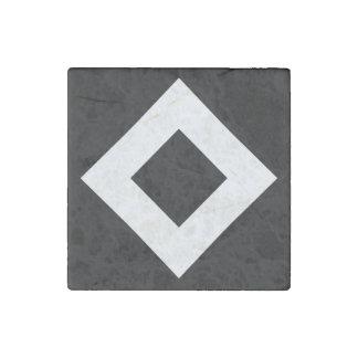 Black Diamond, Bold White Border Stone Magnet