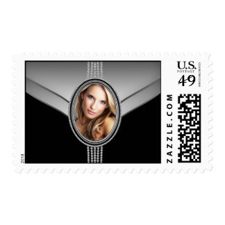 Black Diamond Elegant Black Photo Postage Stamps