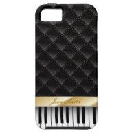 Black Diamond Gold Stripe Piano Look iPhone 5 Case