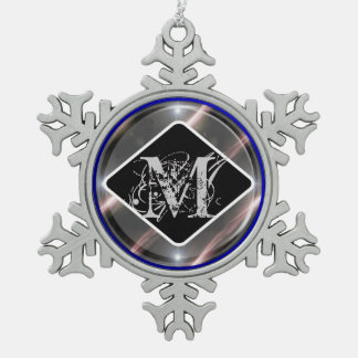 black diamond monogram snowflake pewter christmas ornament