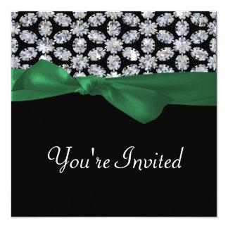 "Black & Diamond Mosaic Green Bow Wedding 5.25"" Square Invitation Card"