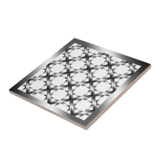 Black Diamond Squared Ceramic Tile on White