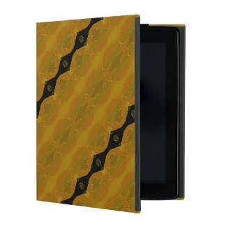 Black Diamond Stripe on Gold and Green iPad Cover