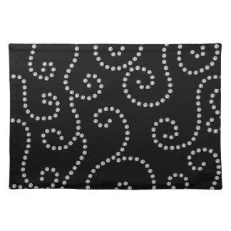 Black diamond swirls place mats