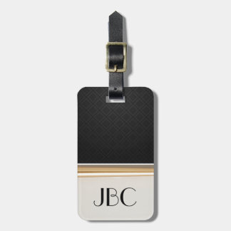 Black Diamond Tile Banded Monogram Luggage Tag