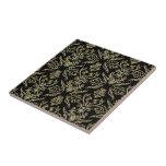 Black Diamonds And Gold Tones Floral Damasks Ceramic Tile