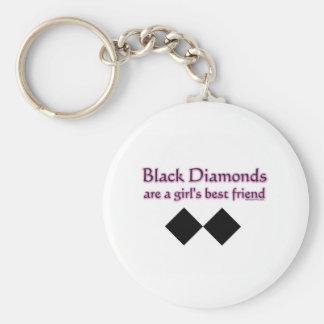 Black diamonds are a girls best friend basic round button keychain